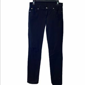 7 For All Mankind Stretchy Black Jeans Distressed